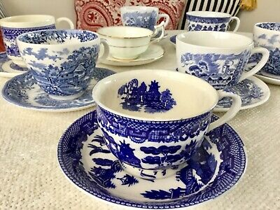 Lot of 8 Vtg ~ Mismatched China Tea Cups and Saucers ~ Tea Party ~ Blue & White