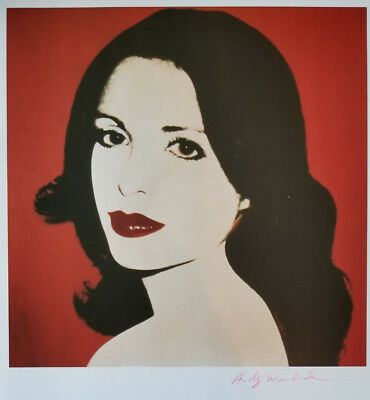 Andy Warhol 1986 Print of Laura de Coppet Hand Signed in Red Crayon