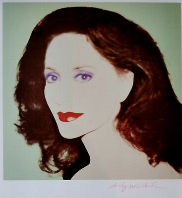 Andy Warhol 1986 Print of Lola Jacobson Hand Signed in Red Crayon