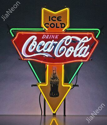 Rare COLA-COCA ICE COLD DRINK Garage Shop Retro REAL NEON SIGN BEER BAR LIGHT