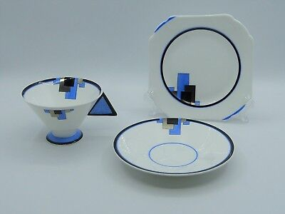 Shelley Extremely Rare Art Deco Vogue Shape Trio , Blue, Silver And Black Block