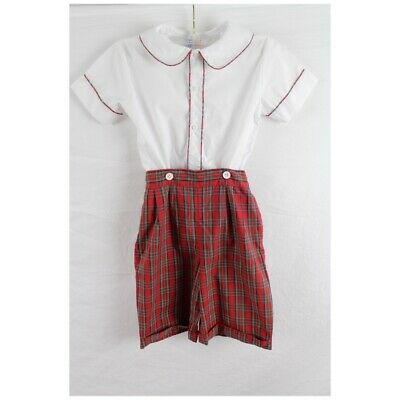 Vintage Boys Shortall Shirt Shorts Set Sz 5 Red Plaid