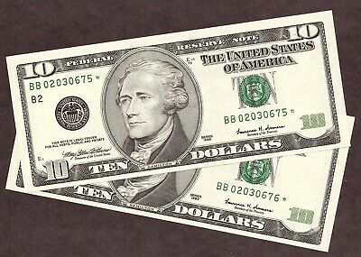 (2) 1999 $10 FRN **STAR** NOTES - NEW YORK - CONSECUTIVE SN's - AU++