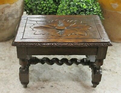 Antique English Oak BARLEY TWIST Foot Stool Bench Kitchen Copper Kettle Stand #1