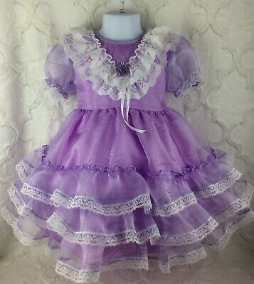 Vintage Style Girls Toddler Size 4 Lavender Purple Sheer Lace Easter Dress