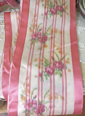 """Antique Edwardian Watered Silk Roses Ribbon 6"""" Wide 4+ Yd Pink Edging Fragile As"""