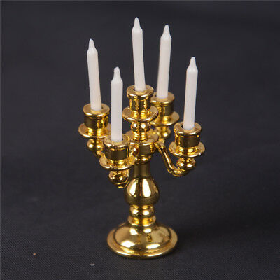 1/12 Scale Miniature Gold Candelabra 5 White Candles Dollhouse Kitchen toy PLF