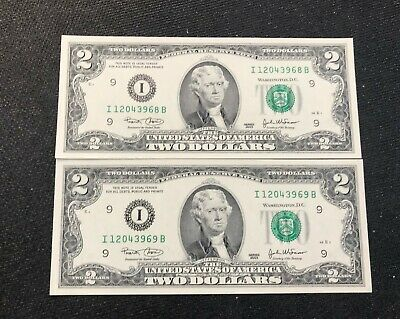 2003 $2 x 2 New Two Dollar Bills Consecutive Uncirculated BEP Pack Minneapolis