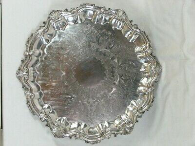 Antique Heavy EG Webster & Son Silverplate Tray 2815/7 Hand Chased Copper Mounts
