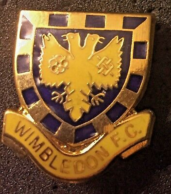 Rare Old Wimbledon Fc Crest Shield Enamel Pin Badge