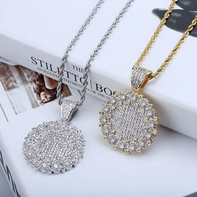 Unisex Hip Hop Round Pendant Necklace Charm Bling AAA Cubic Zircon Jewelry
