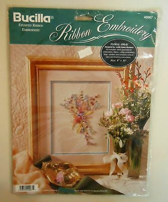 Bucilla ~STAMPED RIBBON EMBROIDERY KIT ~Floral Spray ~New NIP sealed