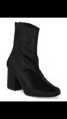 c102f777c094c Free People Black Velvet Cecile EU 38  7.5 Zip Up Heel Ankle Boot Round Toe