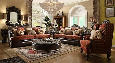 3 PC FORMAL Living Room Set European Luxury Loveseat Leather Sofa Set Couch  Seat