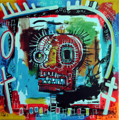 color skull basquiat PyB signed TABLEAU pop street art french painting canvas