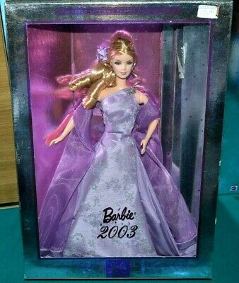 Nib-2003 Barbie Doll- Lavender Gown, Brooch, Earrings-Collector Edition- Spirals