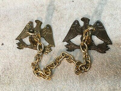 Vintage Brass Mid Century USA  American Eagle Hooks and towel bar chain