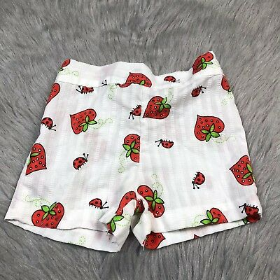 Vintage Healthtex Toddler Girls White Red Strawberry Ladybug Shorts