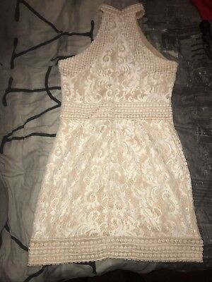 4a31ca846d0 PRETTY LITTLE THING White high neck lace crochet bodycon dress Size ...