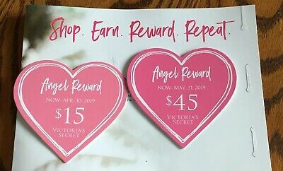 (2) Victoria's Secret Angel Reward Cards $45 & $15 In Store + Online Exp 4/30