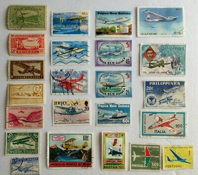 worldwide group of 23 different airplane stamps, a few unused