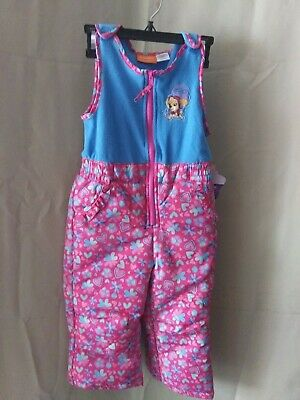 Girls Toddler Size 3T Paw Patrol Insulated Winter Snow Bib Pink - Brand New! B16
