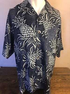 e43f01af Tommy Bahama Mens Pineapple Floral Short Sleeve Hawaiian Button Up Shirt  Small