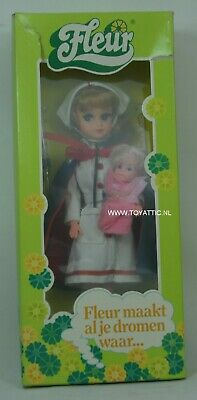 Fleur ( dutch Sindy ) doll in nurse outfit with blond hair and baby mint in box