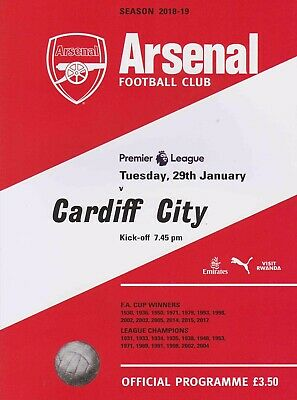 Last Couple Arsenal V Cardiff City. 2019 Programme