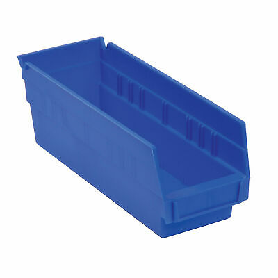 "Akro-Mils 30128 Plastic Shelf Bin Nestable - 4-1/8""W x 17-7/8""D x 4""H Blue, Lot"