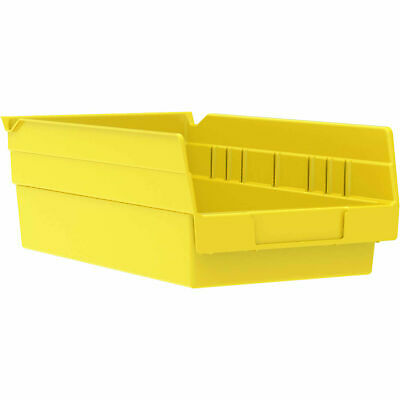 "Akro-Mils 30130 Plastic Shelf Bin Nestable - 6-5/8""W x 11-5/8""D x 4""D Yellow,"