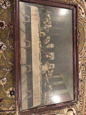 Vintage THE LAST SUPPER Jesus Christ Apostles FRAMED ART PICTURE!