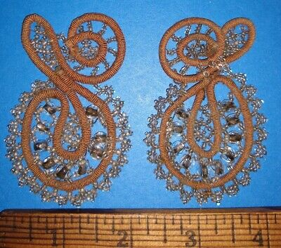 Antique LOT of 2 Beaded Appliques Clear Beads & Brown Edwardian Vintage Trim A++