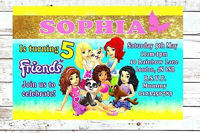 LEGO Friends Birthday Party Invitations Invites Personalised X10