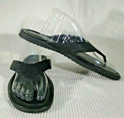 afb42a412 GUCCI Men s 12G Black GUCCISSIMA Leather BEACH flip-flops Thong sandals Auth