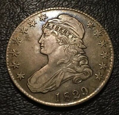 1829/7 Capped Bust Half Dollar/Tough Variety/Sharp CH XF+/Colorful Toning / RARE