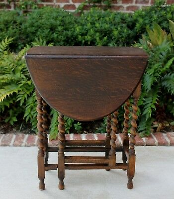 Antique English Tiger Oak Drop Leaf OVAL Gate Leg Table BARLEY TWIST Petite