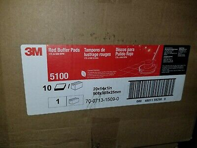 "3M 59258 Red 5100 Buffing Buffer Pad 20"" x 14"" x 1"" Box of 10 NEW"