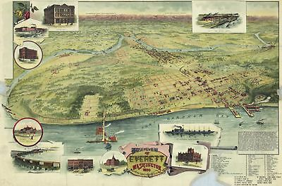 A4 Reprint of Map 1893 USA View of Everett Washington Lovely Colors
