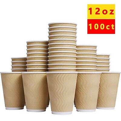 Luckypack Hot Paper Cups_12 oz Disposable Insulated Corrugated Sleeve Ripple Wal