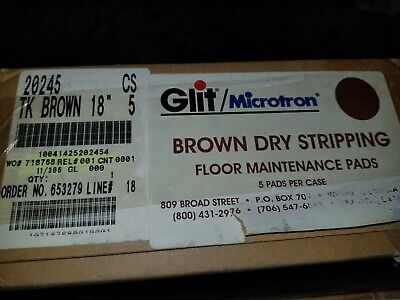 "Microtron 20256 Brown Dry Stripping Pads - 18"" Diameter - 1 case of 5 pads"