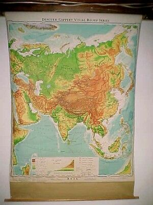 1964 Denoyer-Geppert ASIA J3vr pull down school room visual relief wall map