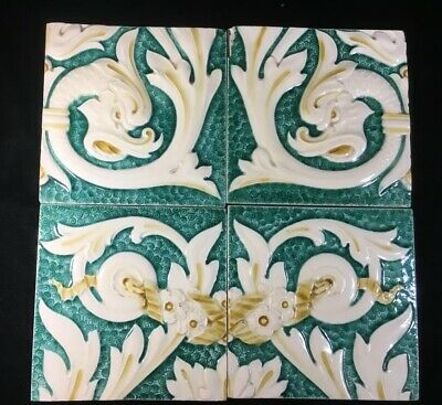 (4) Minton High Relief Teal and Cream 'DRAGONS & FLOWERS' 6 X 6 Tiles