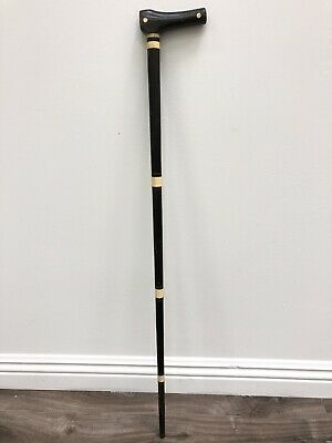 "Ebony & Bone Walking Cane Stick Folk Art Antique Inlay 33"" High Quality Vintage"