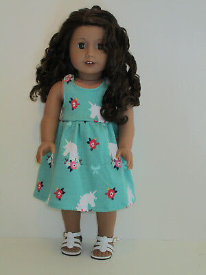 """Unicorn & Flowers/Green Sundress for 18"""" Doll Clothes American Girl"""