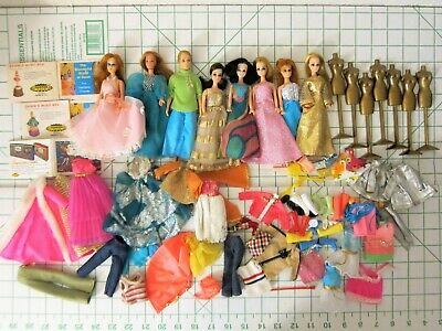 """Vintage Topper Dawn 8 doll lot clothing shoes clone male 6.5"""" shoes accessories"""