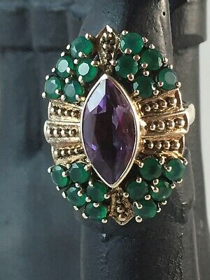 NICKY BUTLER Amethyst & Green Chalcedony Sterling Silver Ring ~ Size 7