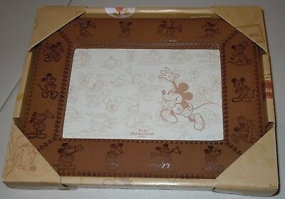 Disney Parks Mickey Mouse Leather Bound 4X6 Photo Frame NWT