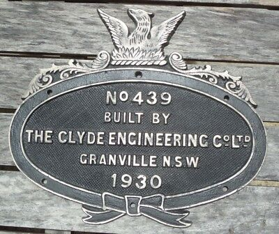 Steam Locomotive 5715 MAKER'S PLATE The Clyde Engineering Co Sydney NSWGR Bronze