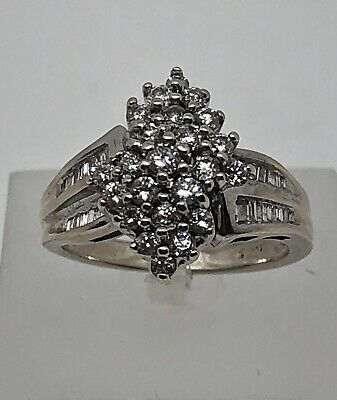 14K WHITE GOLD 1CT ROUND & BAGUETTE DIAMOND CLUSTER RING SIZE 7 ~ 6.9 grams